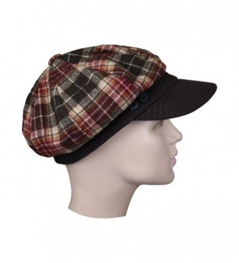 Brown Plaid Winter Ribbed Visor in Women's Newsboy Caps