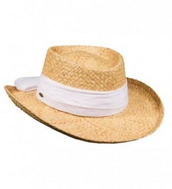 Scala Pro Organic Raffia Gambler Cotton Bow 3 Inch Brim (LR546) - White - C517YISURX4
