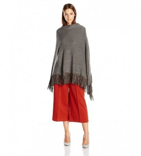 La Fiorentina Women's Soft Poncho with Faux Suede Fringe - Gray - CF11DX0R7N9