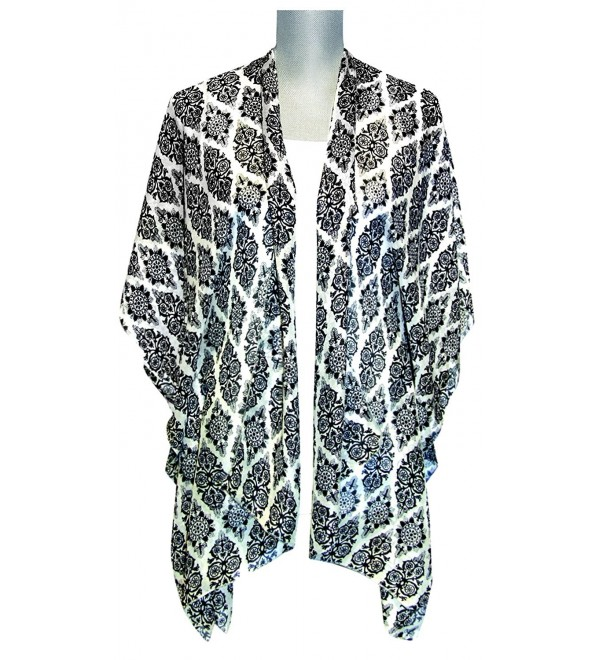 Lavello Open Style Kimono - White/Black Damask Diamond - CO12C1VDP2H