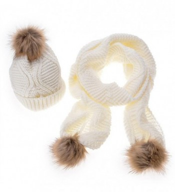 MINAKOLIFE Womens Stylish Cable Winter Warm Ski Slouch Pom Pom Hat Cap + Scarf Set - White - C3126LETOYX