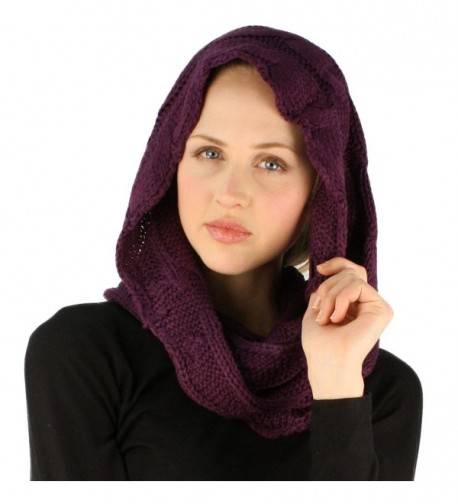 Winter Soft Pullover Cable Long Knit Loop Infinity Hood Cowl Ski Scarf - Purple - CM11O6H564Z