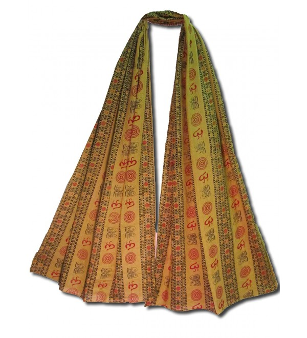 Men's & Women's Indian Om (Aum) Sanskrit Mantra Block Print Cotton Scarf Stole - Mustard - CV11HIV1FF5
