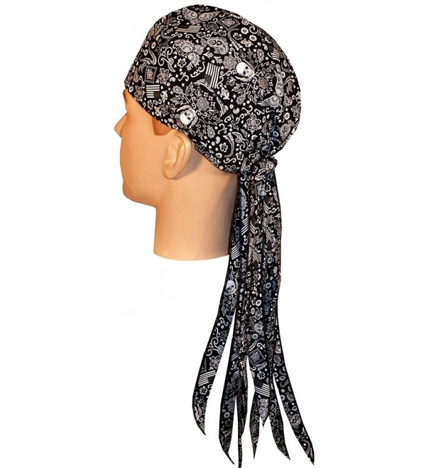 Nomad Skull Cap Biker Style Headwraps Doo Rags - Wild Bandana & Flags on Black - C912ELCKZAN