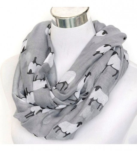 C-Pioneer Fashion Sheep Print Design Scarves for Women Lightweight Large Size Scarf - Grey - CQ12O64FN3C