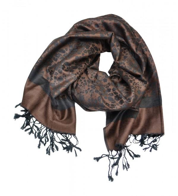 Floral Jacquard Scarf Women's Fashion Shawl Long Soft Accent Wrap - Floral - Brown - CX12MZ41QMV