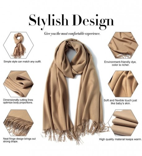 d30d9651f Womens Large Soft Cashmere Feel Pashmina Shawls Wraps Winter Light Scarf -  Camel - CW1883U2OWL. Womens Cashmere Pashmina Shawls Winter