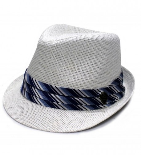 City Hunter Pms430 Pamoa Plain Straw with Colored Stripe Trim Summer Fedora (3 Colors) - White - CX11L1NWX2F