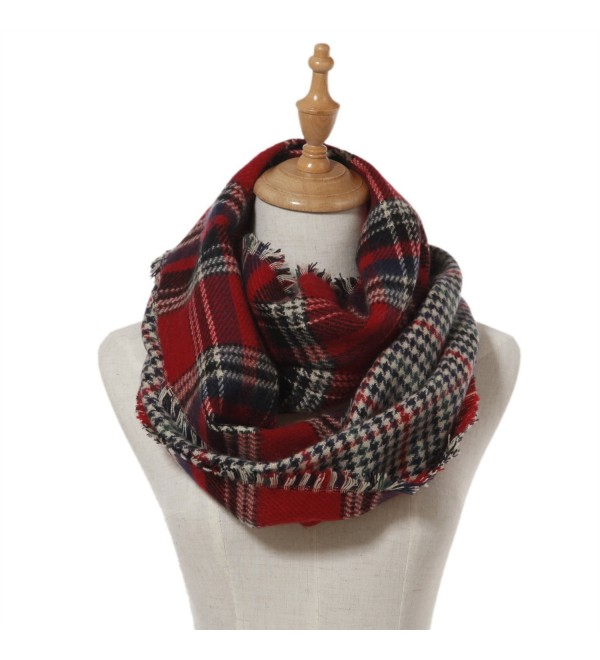 Lucky Leaf Women Winter Checked Pattern Cashmere Feel Warm Plaid Infinity Scarf - Red Black Plaid - C812L0TSX37