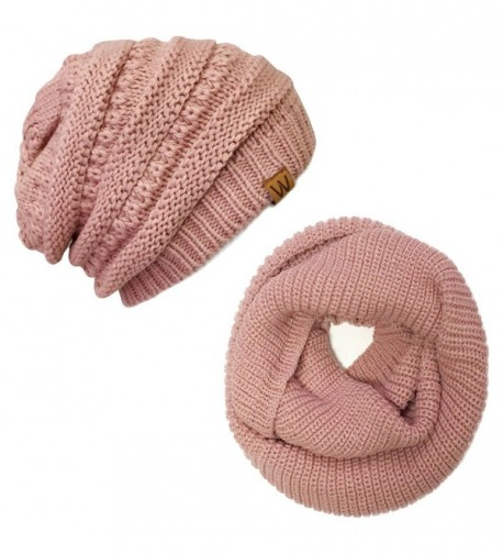 ALLYDREW Thick Knitted Winter Infinity Circle Scarf and Slouchy Beanie Set - Pink Petal - C4186KWX0XW