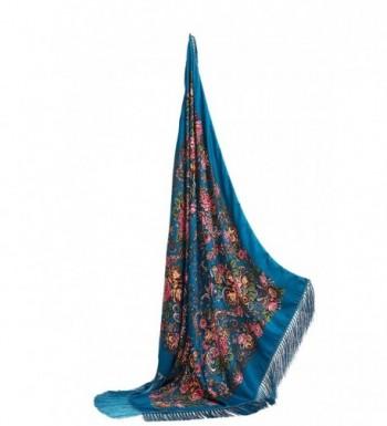 "Ladies Tassel Shawl With Roses Ukrainian Polish Russian Retro Head Wrap 44"" x 44"" - Azure Blue - CP17YLT00W9"