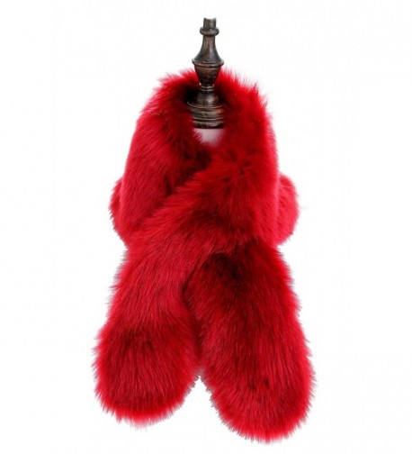 Changuan Women's Winter Fake Faux Fur Scarf Wrap Collar Shawl Shrug - Red - CQ188AROHOZ