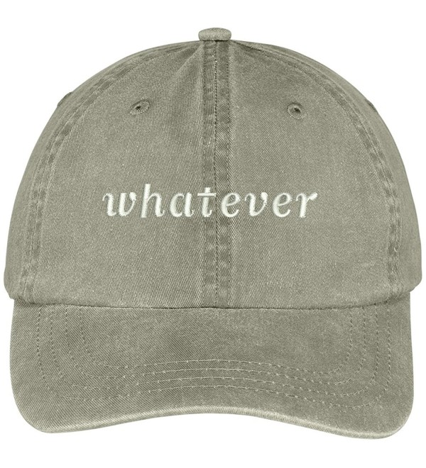 Trendy Apparel Shop Whatever Embroidered Soft Front Washed Cotton Cap - Khaki - CV12N7CXTID