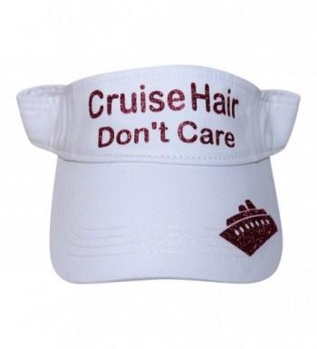 Glitter Cruise Hair Don't Care Visor Fashion Boat Vacation - Fuchsia Glitter on White Visor - CN17Z3KOUQT