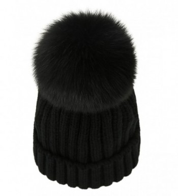 LITHER Women Winter Warm Real Large Fox Fur Pom Pom Beanie Winter Hats - Black - CH12NRE5IUH