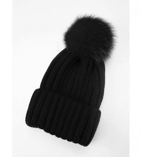 289f4c1b250f0 Women Winter Warm Real Large Fox Fur Pom Pom Beanie Winter Hats ...