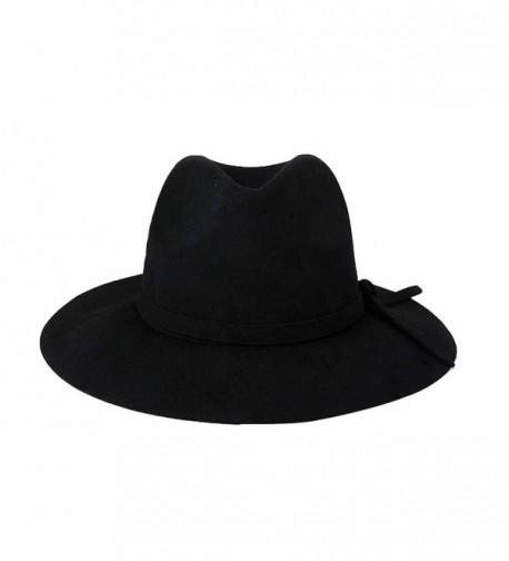 YueLian Women Wool Fedora Jazz Panama Hats Caps with Brim - Black - CR11QB4ONN1