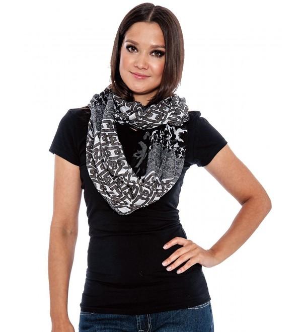 True Rock Eternity Women's Lightweight Infinity Scarf Scarves - Black/White 122 - CJ12O8NH2PQ