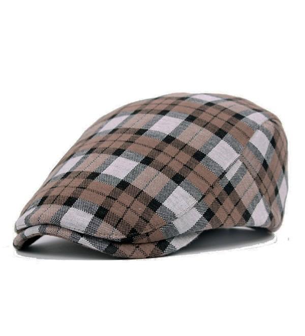 ZLS ZLSLZ Men's Unisex newsboy Hat Cotton Flat Plaid IVY Irish Cabbie Caps - Khaki - CS186GU7ZEE