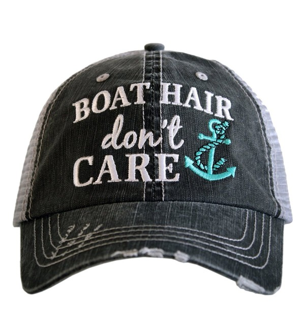 Katydid Boat Hair Don't Care Women's Trucker Hat - Mint Anchor - CN17YZ48W35