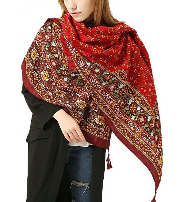 """Ababalaya Women's Extra Large 70""""&times37"""" Soft Bohemian Ethnic Style Fringed Scarf Shawl - Red - CC1853DZEZU"""
