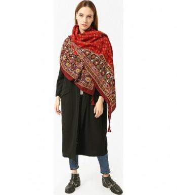 Ababalaya Womens Bohemian Ethnic Fringed in Fashion Scarves