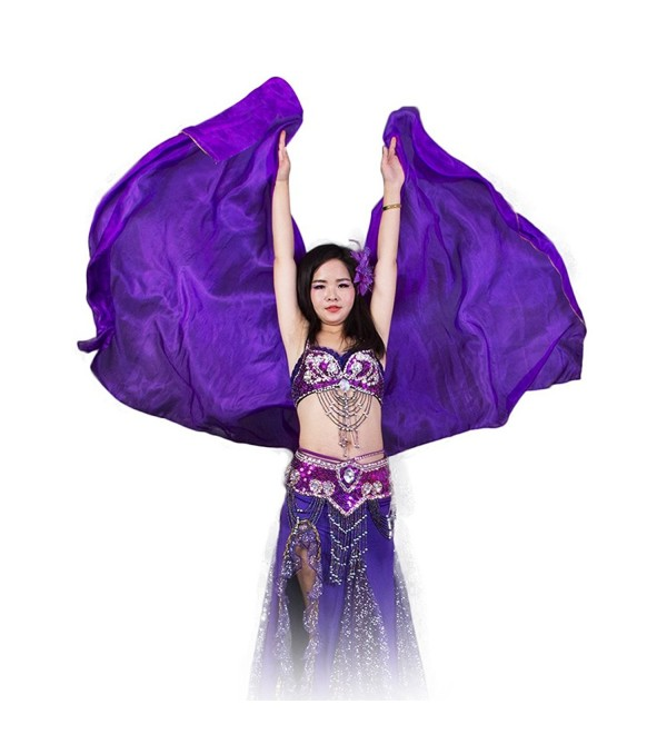 Extraodinary 100% Real Silk Belly Dance accessories Tie-Dyed Square Scarf 5mm Veil - Purple - CV189TRX6HA
