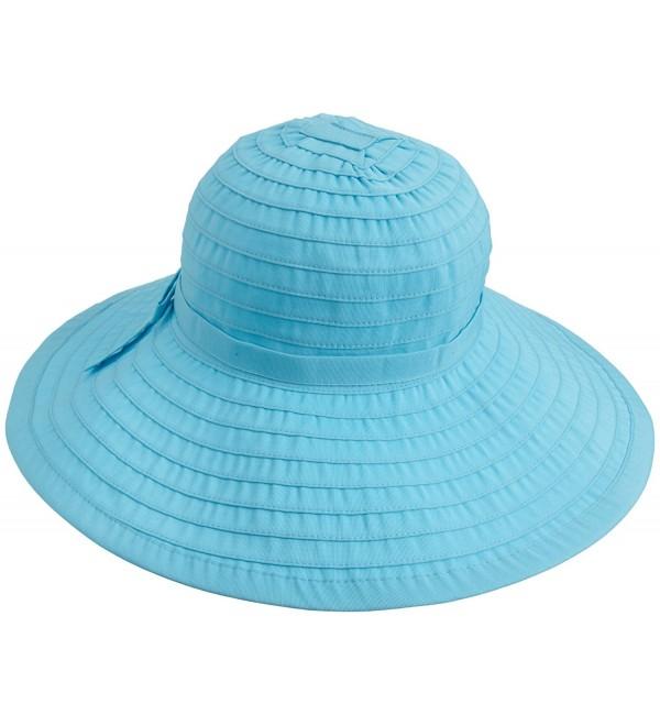 San Diego Hat Company Women's Ribbon Large Brim Hat - Aqua - CQ1143BNX49