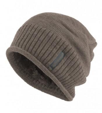 Janey&Rubbins Winter Slouchy Baggy Solid Knit Beanie Hat Fur Lined Skull Ski Cap - Camel - CK12NTWPS8B