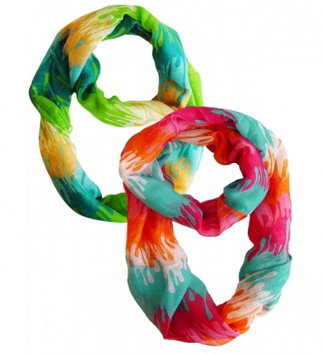 Peach Couture Trendy Abstract Multicolored Paint Design Infinity Loop Scarf/wrap - Green and Pink Orange - C211OJ1BBRJ