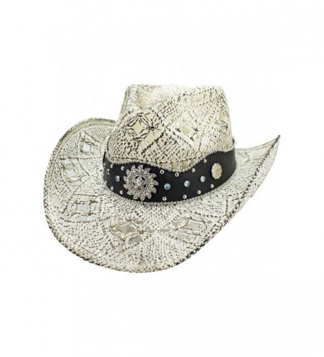 Luxury Divas White Antiqued Straw Cowboy Hat With Jeweled Band - C217YLAUHKS