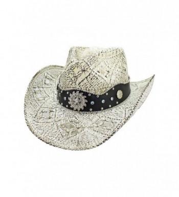 Luxury Divas White Antiqued Straw Cowboy Hat With Jeweled Band - C217YLAUHKS