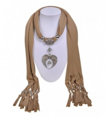 Alloy jewelry pendants necklace angel wings cross jewelry scarf women beaded scarves - Brown4 - CE12G7WH2D9