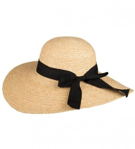 San Diego Hat Company Women's Raffia Large Brim Hat - Natural- Black - CI11999PO6Z