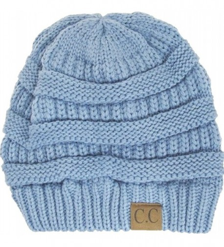 Thick Knit Soft Stretch Beanie Cap - Denim - CP11P21526L