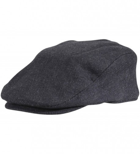 Dorfman Pacific Wool Herringbone Ivy Scally Cap Driver Hat - Black - CM12C9MSRCV