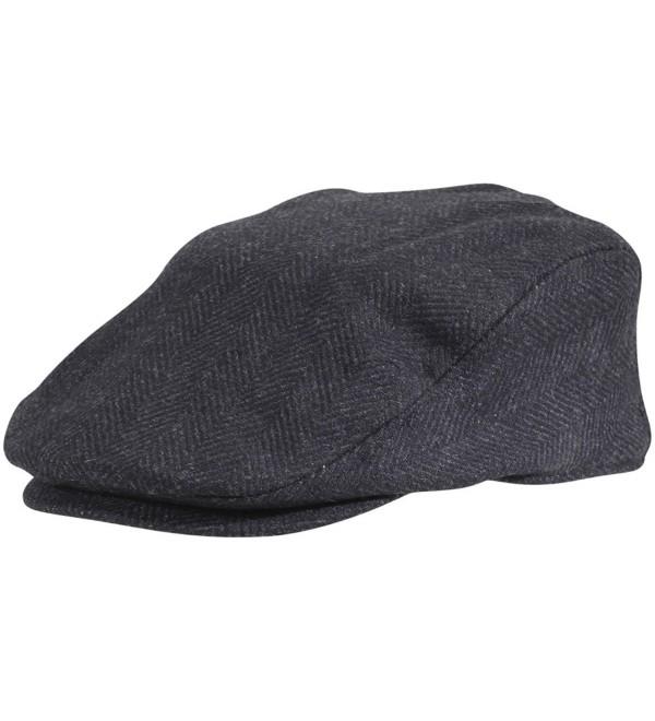 Dorfman Pacific Wool Herringbone Ivy Scally Cap Driver Hat - Black - CM12C9MSRCV