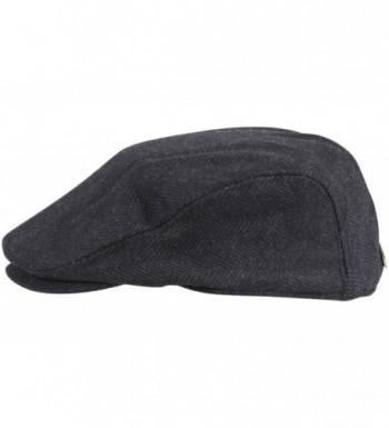 Dorfman Pacific Wool Herringbone Black in Men's Newsboy Caps