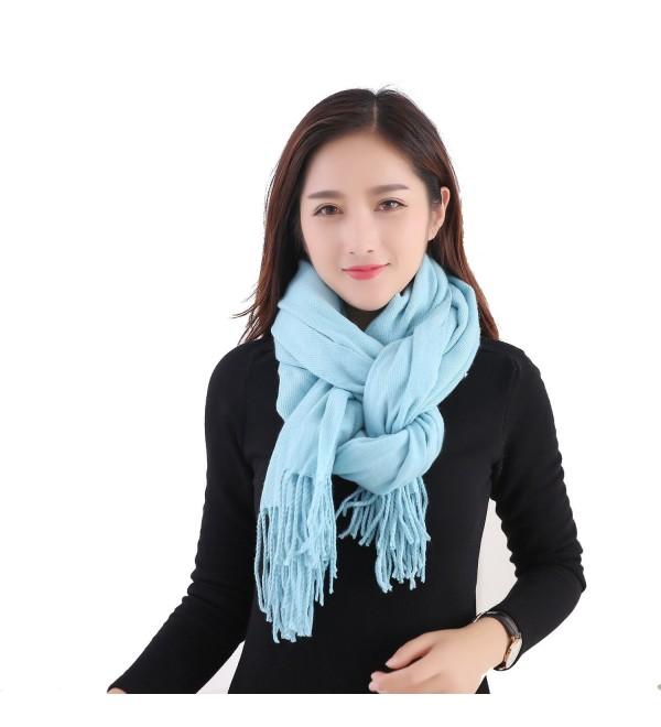 YCHY Large Extra Soft Cashmere Blend Women Pashmina Shawl Wrap Stole Scarf - Royal Blue - CO186GU2U68