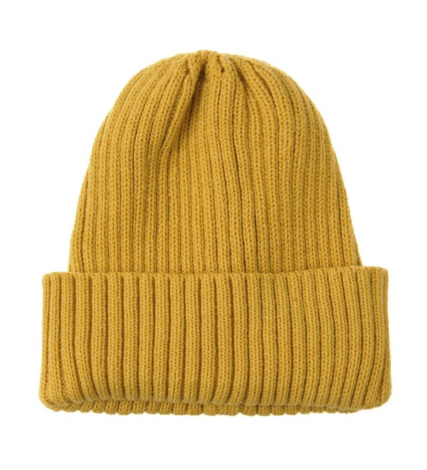21e97d89e Knitted Ribbed Beanie Hat Basic Plain Solid Watch Cap AC5846 Yellow  CH187E48YAM