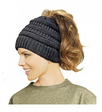 Lamdgbway Trendy Knit Hat Cable Beanie Stretch Chunky Winter Bun Ponytail Beanie - Black - CQ187G6TO57