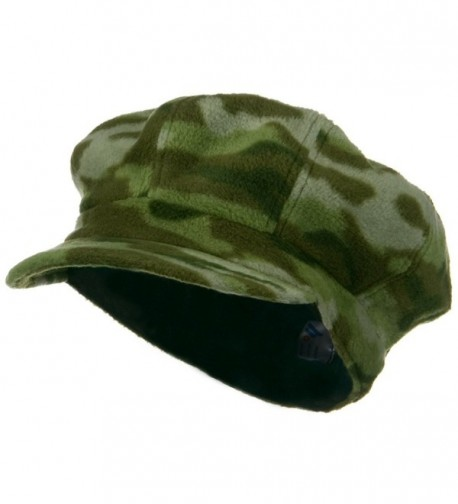 Camo Fleece Newsboy Hat - Green - CH116MT6EQT