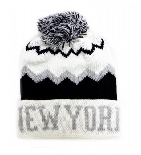 City Hunter Ck1040 Zig Zag Pattern New York Pom Pom Knit Hat (15 Colors) - White - CL110OJ9DZH