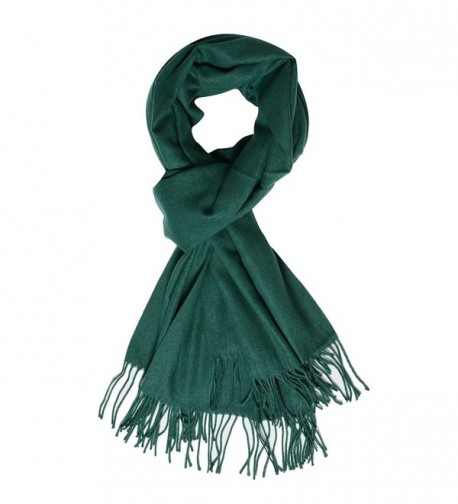 QBSM Womens Large Soft Scarf Solid Winter Pashmina Cashmere Feel Shawl Wraps for Women Girls - Dark Green - CW186L790MR