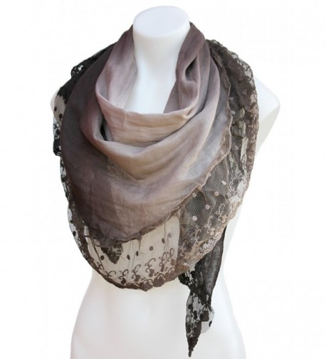 Terra Nomad Women's Vintage Inspired Ombre' Triangle Scarf with Sheer Lace Trim - Brown - CB11HU56BTT