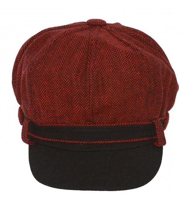 Ladies Herringbone Pattern Newsboy Cap - Burgundy - CH11GKNE167