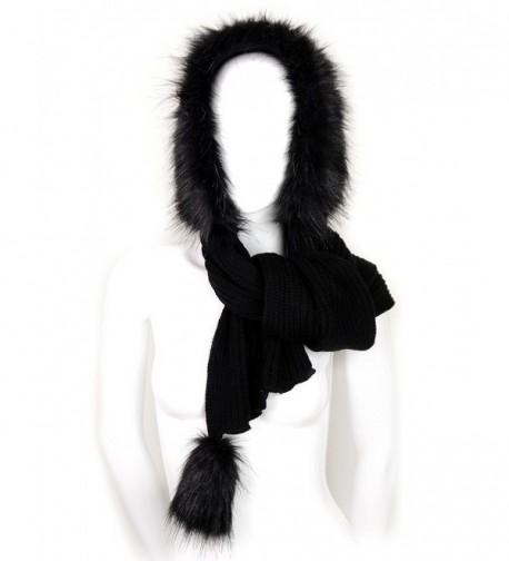 Futrzane Women Hooded Scarf Hat Knitted Wool Faux Fox Fur Long Warm - Black - Black - CD11GG6EUCD