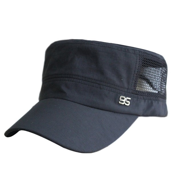Men Summer Quick-dry Mesh Thin Flat Top Military Army Sun Protect Buckle Hat Cap - Black - CW12BB66H69