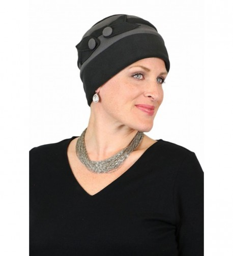 Fleece Hat for Women Cancer Headwear Warm Winter Beanie Lightweight Chemo Cap - Black / grey - CQ187CA5KS7