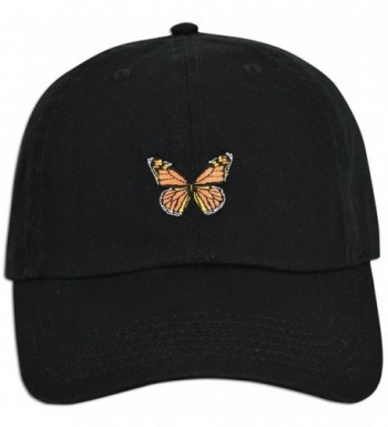 JLGUSA Monarch Butterfly Embroidered Dad Cap Hat Adjustable Polo Style Unconstructed - Black - CG185E36I30